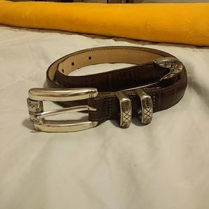 Talbot's Brown & Silver Leather Belt 30 in